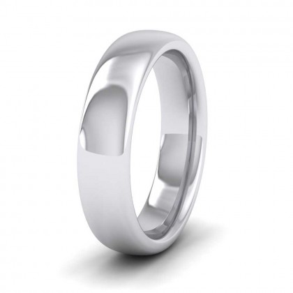 925 Sterling Silver 5mm Cushion Court Shape (Comfort Fit) Super Heavy Weight Wedding Ring