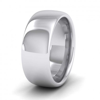 925 Sterling Silver 8mm Cushion Court Shape (Comfort Fit) Super Heavy Weight Wedding Ring