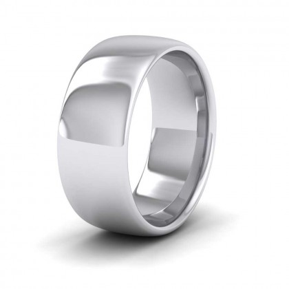 925 Sterling Silver 8mm Cushion Court Shape (Comfort Fit) Extra Heavy Weight Wedding Ring