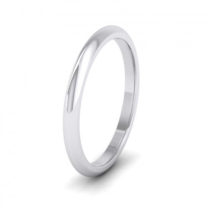 925 Sterling Silver 2mm 'D' Shape Extra Heavy Weight Wedding Ring