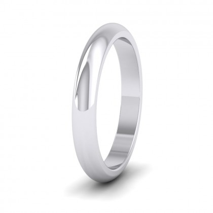 925 Sterling Silver 3mm 'D' Shape Super Heavy Weight Wedding Ring
