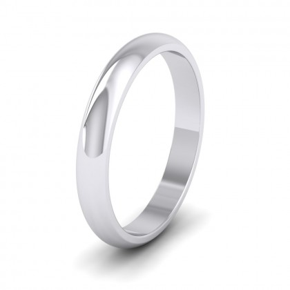 925 Sterling Silver 3mm 'D' Shape Extra Heavy Weight Wedding Ring
