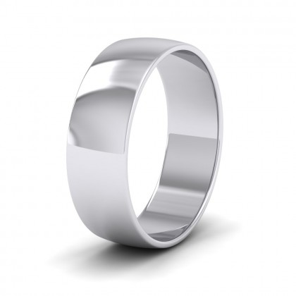 925 Sterling Silver 6mm 'D' Shape Classic Weight Wedding Ring