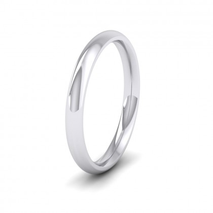925 Sterling Silver 2.5mm Court Shape (Comfort Fit) Extra Heavy Weight Wedding Ring