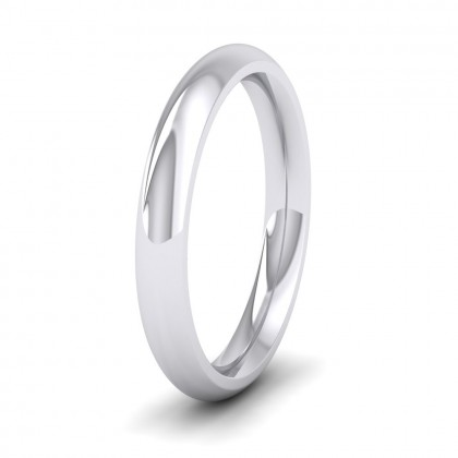 925 Sterling Silver 3mm Court Shape (Comfort Fit) Super Heavy Weight Wedding Ring