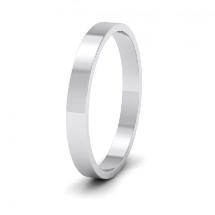 925 Sterling Silver 2.5mm Flat Shape Classic Weight Wedding Ring