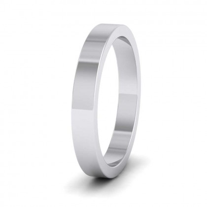 925 Sterling Silver 3mm Flat Shape Super Heavy Weight Wedding Ring