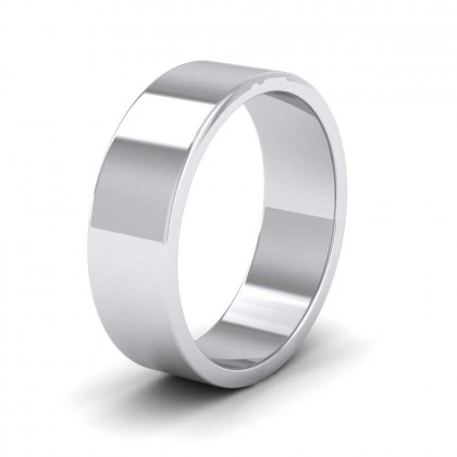 925 Sterling Silver 6mm Flat Shape Extra Heavy Weight Wedding Ring