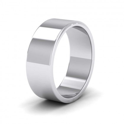 925 Sterling Silver 7mm Flat Shape Extra Heavy Weight Wedding Ring