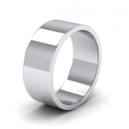 925 Sterling Silver 8mm Flat Shape Extra Heavy Weight Wedding Ring