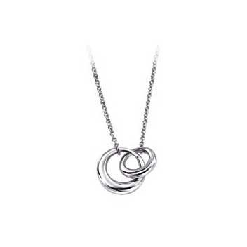 925 Sterling Silver Interlocking Two Ring Pendant and Chain