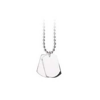 925 Sterling Silver Double Dogtag Pendant and Chain