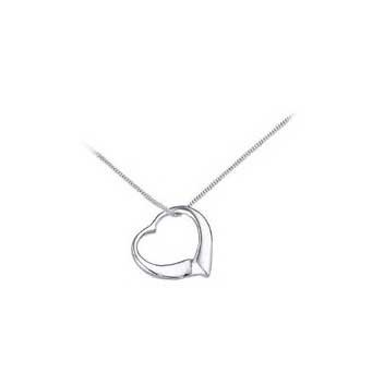 925 Sterling Silver Floating Heart Pendant and Chain Necklace