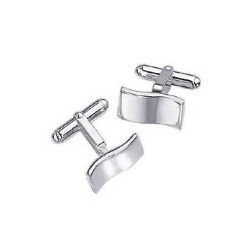 925 Sterling Silver Wave Rectangular Cufflinks