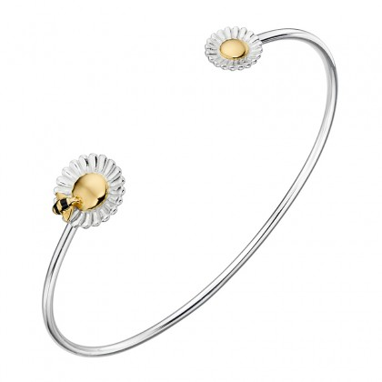 Bee And Daisy Design Open Bangle With Yellow Gold Plated Accents.