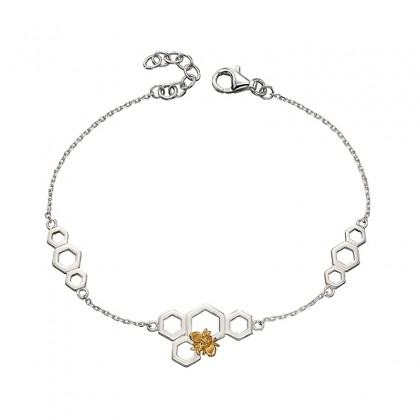 Sterling Silver Honeycomb And Bee Bracelet With Yellow Gold Plated Accent.
