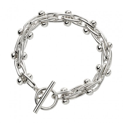 Chunky Sterling Silver Ball Link Chain Bracelet.