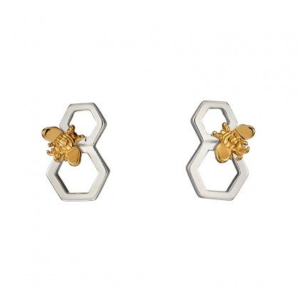 Sterling Silver Honeycomb And Bee Earrings With Yellow Gold Plated Accent.