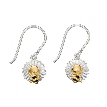 Bee And Daisy Dangling Hook In Sterling Silver With Yellow Gold Plated Accents.