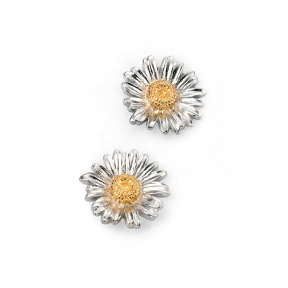 Sterling Silver Delicate Daisy Stud Earrings With A Yellow Gold Plated Centre.