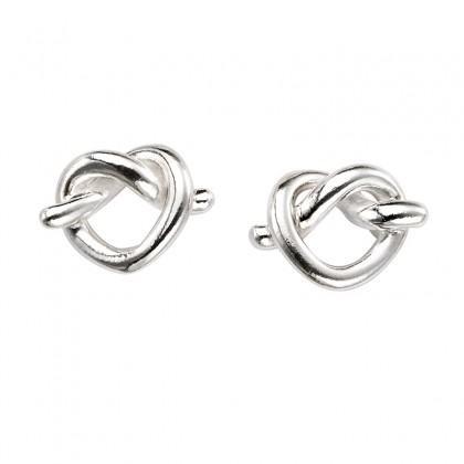 Knotted Heart Stud Earrings In Sterling Silver.