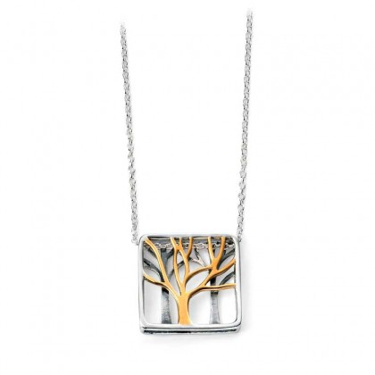Sterling Silver Square Pendant With Yellow Gold Plating.