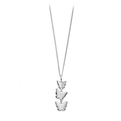 Triple Butterfly Pendant In Sterling Silver.