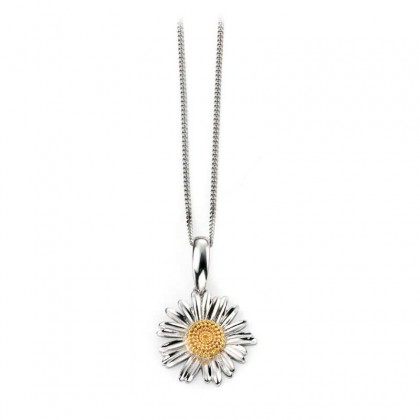 Sterling Silver Delicate Daisy Pendant With Yellow Gold Plated Centre.