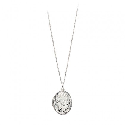 Sterling Silver Oval Locket Pendant With An Embossed Flower Pendant.