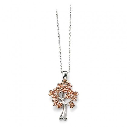 Sterling Silver Tree Pendant With Rose Gold Plated Leaves.