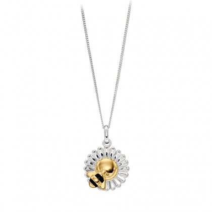 Bee And Daisy Pendant In Sterling Silver With Yellow Gold Plated Accents.