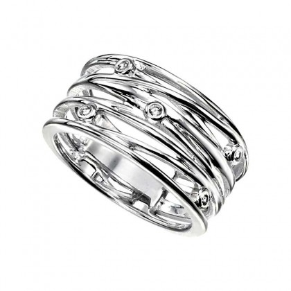 Sterling silver wide dress ring set with cubic zirconia.