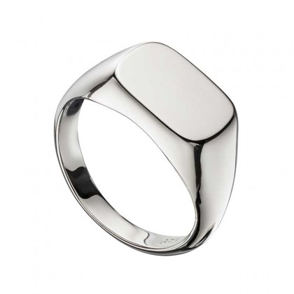 Sterling silver rectangular signet style ring.