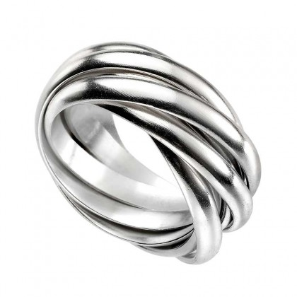 Sterling silver multi crossover ring.