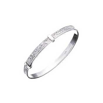925 Sterling Silver Embossed Slide Bangle