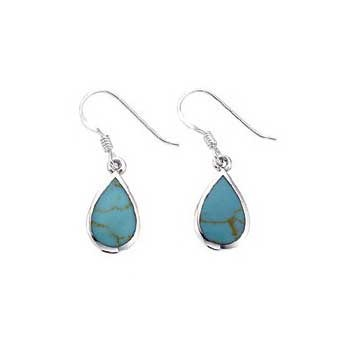 925 Sterling Silver Imitation Turquoise Earrings