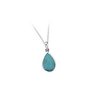 925 Sterling Silver Imitation Turquoise Pendant