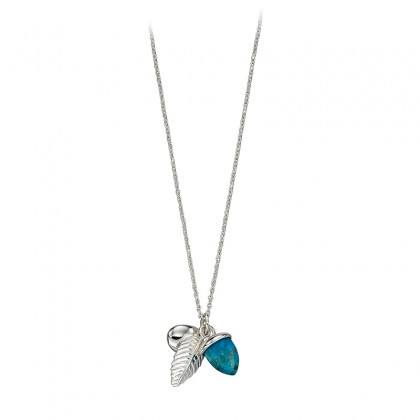 Triple Charm Necklace In Sterling Silver, One Charm Set With Stabilised Turquoise.