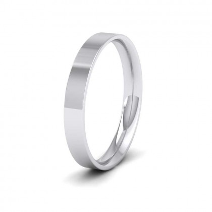 950 Palladium 3mm Flat Shape (Comfort Fit) Classic Weight Wedding Ring