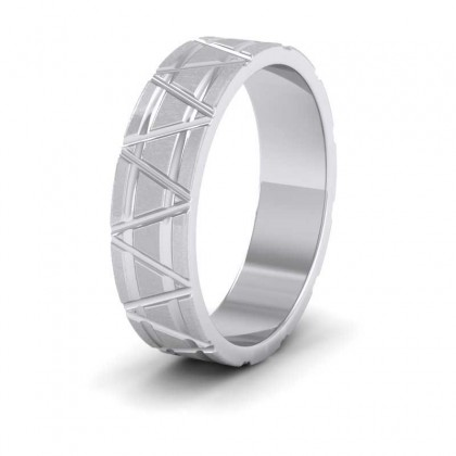 Zig Zag And Groove Pattern 950 Platinum 5mm Flat Wedding Ring