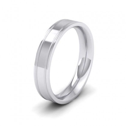 950 Platinum 4mm Flat Court Shape Patterned Wedding Ring