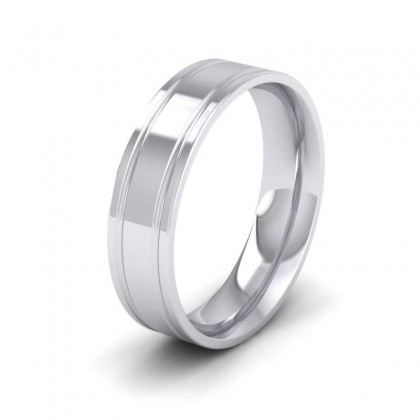 950 Platinum 6mm Edge Line Pattern Flat Court Shape Wedding Ring