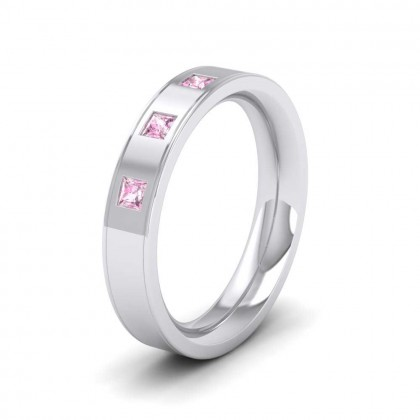 950 Platinum 4mm Flat Court Shape Three Stone Pink Sapphire Wedding Ring