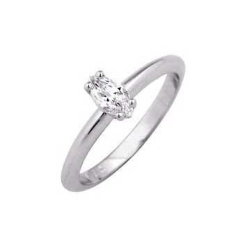 950 Platinum Marquise Cut 0.30ct Diamond Solitaire Ring