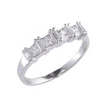 950 Platinum Princess and Baguette Cut Half Carat Diamond Ring