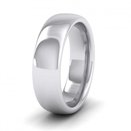 950 Platinum 6mm Cushion Court Shape (Comfort Fit) Super Heavy Weight Wedding Ring