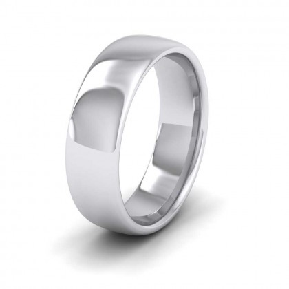 950 Platinum 6mm Cushion Court Shape (Comfort Fit) Extra Heavy Weight Wedding Ring