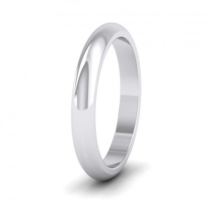 950 Platinum 3mm 'D' Shape Super Heavy Weight Wedding Ring
