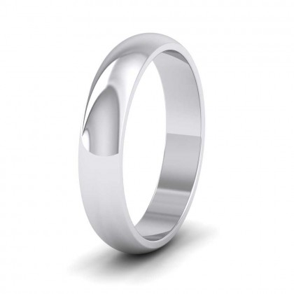 950 Platinum 4mm 'D' Shape Extra Heavy Weight Wedding Ring