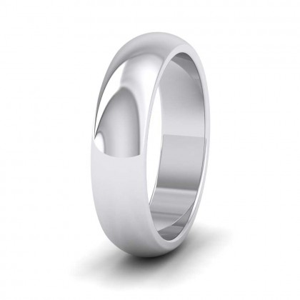 950 Platinum 5mm 'D' Shape Super Heavy Weight Wedding Ring